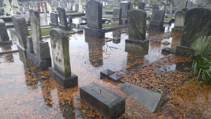 With little green space, Chevra Thilim Cemetery floods often.
