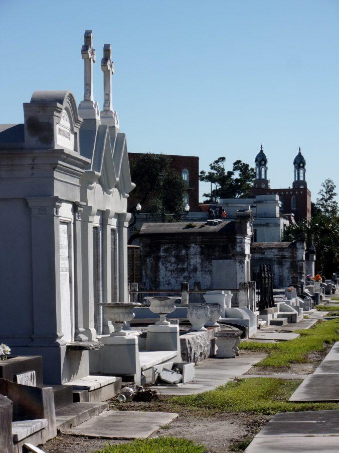 Grassy paths between the mausoleums