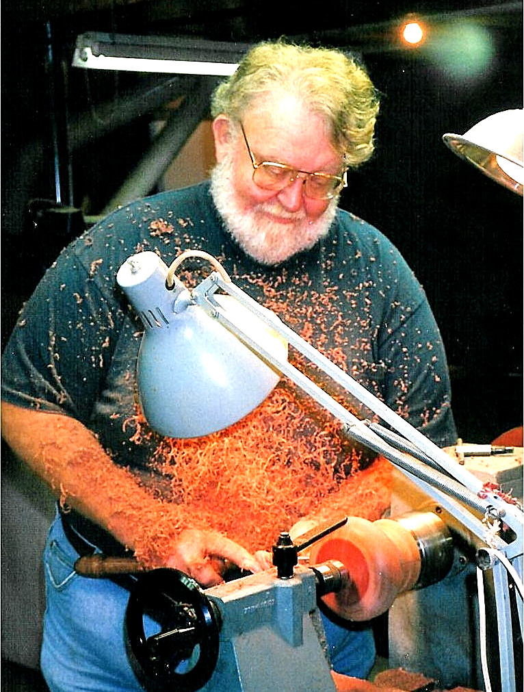 Dad working on the lathe