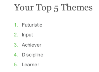 My results from the  StrengthsFinder 2.0 Quiz