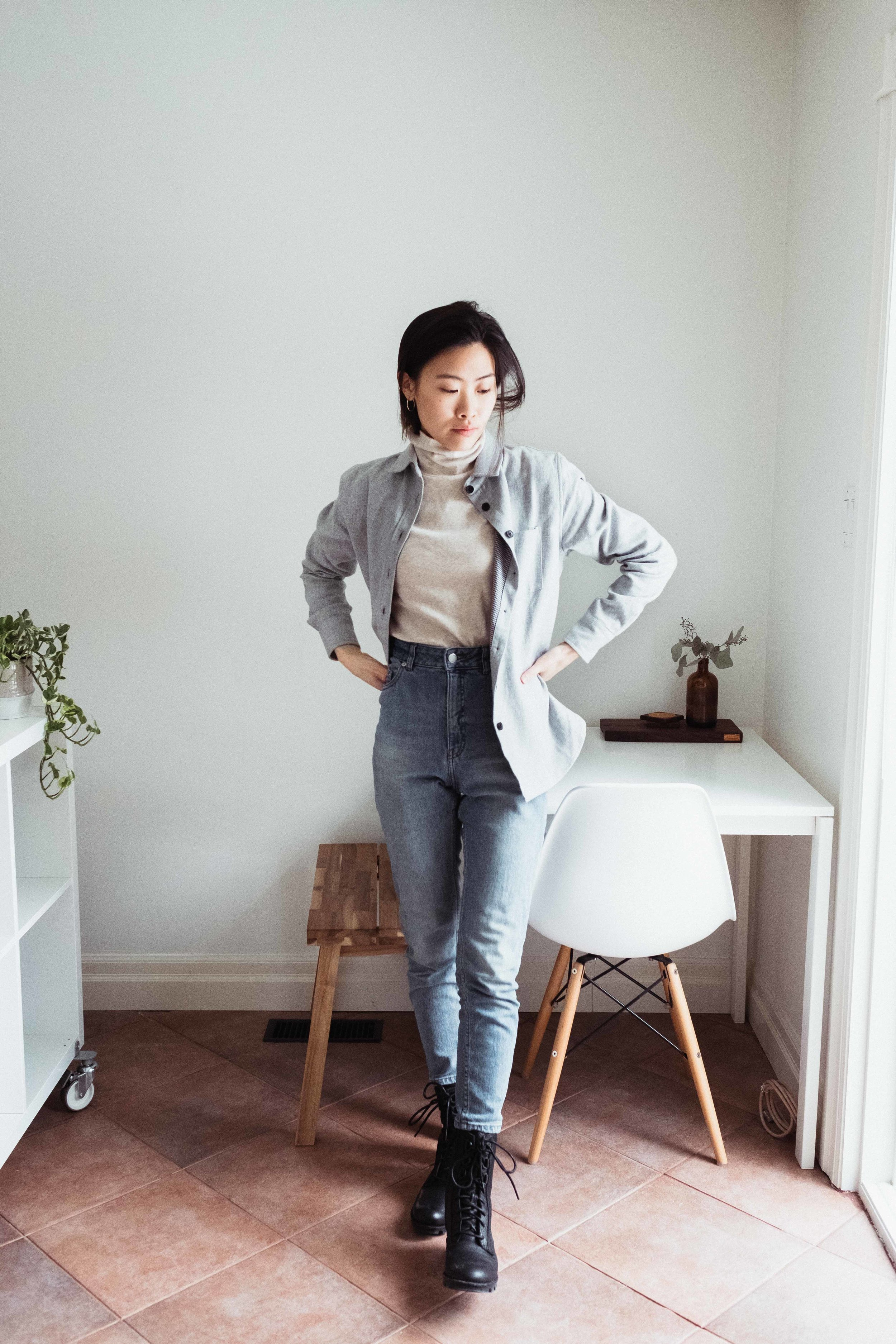 I've styled an all-cotton outfit, including my jeans! I'm wearing my  Tradlands  Reyes Flannel, a Muji Turtleneck, and my Cheap Monday mom jeans.