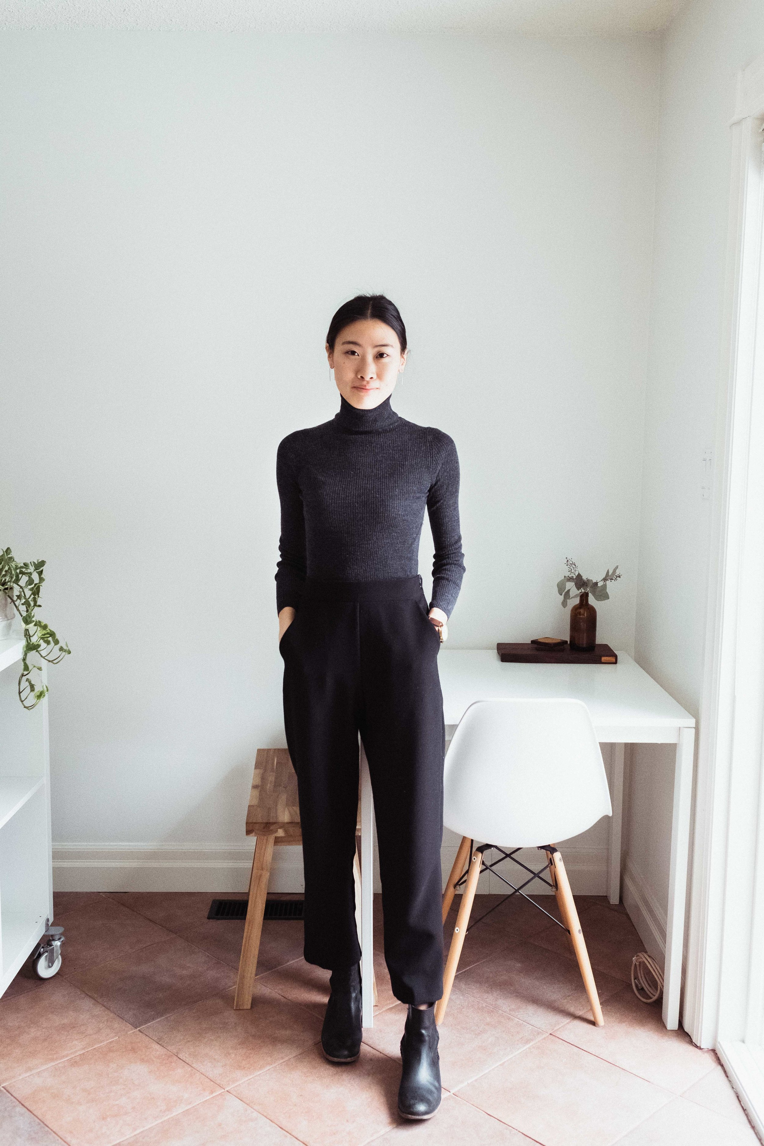 This is my 100% turtleneck from UNIQLO paired with my black trousers from Oak + Fort.