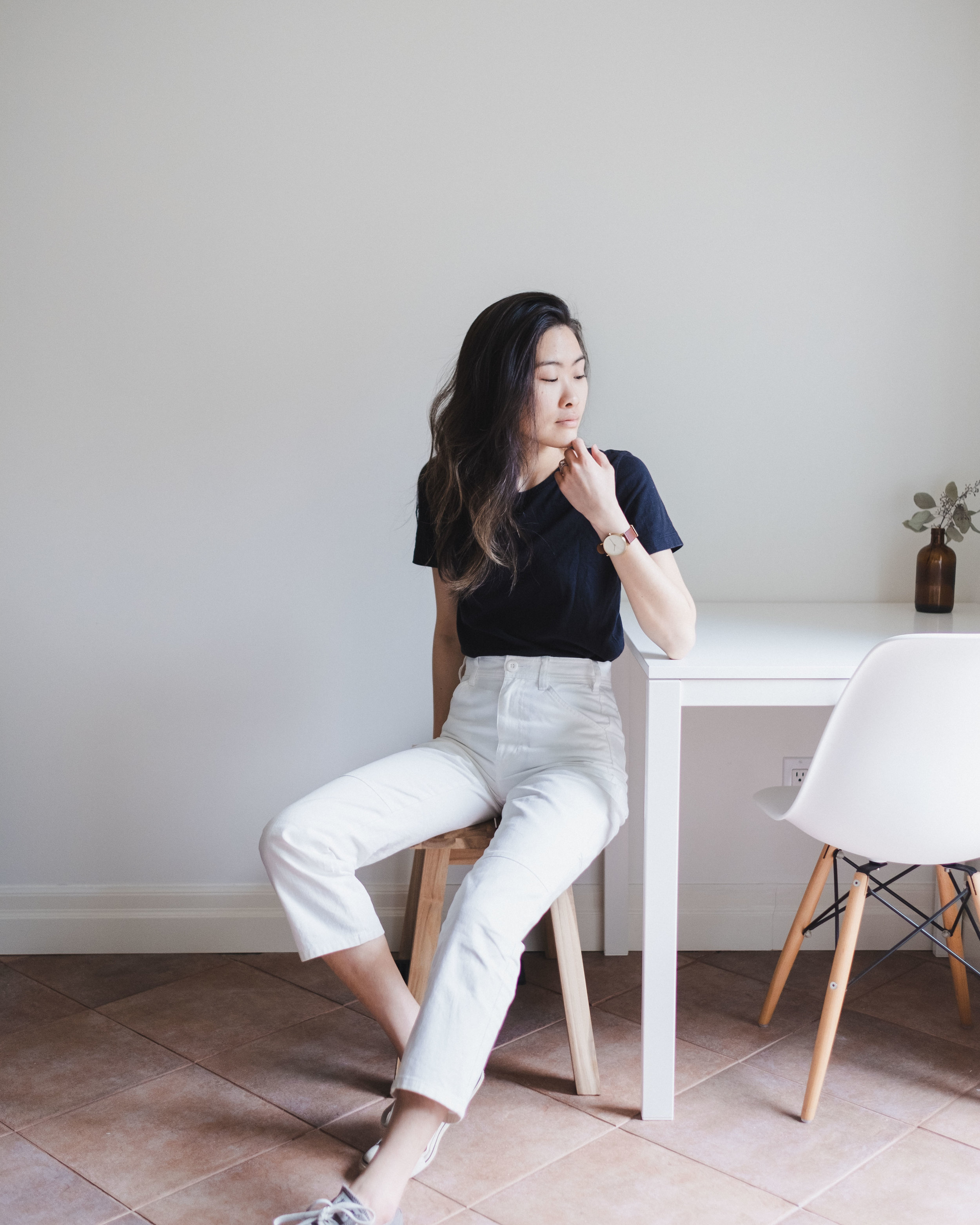 Black Tee by Muji The Carpenter Pant by  Everlane