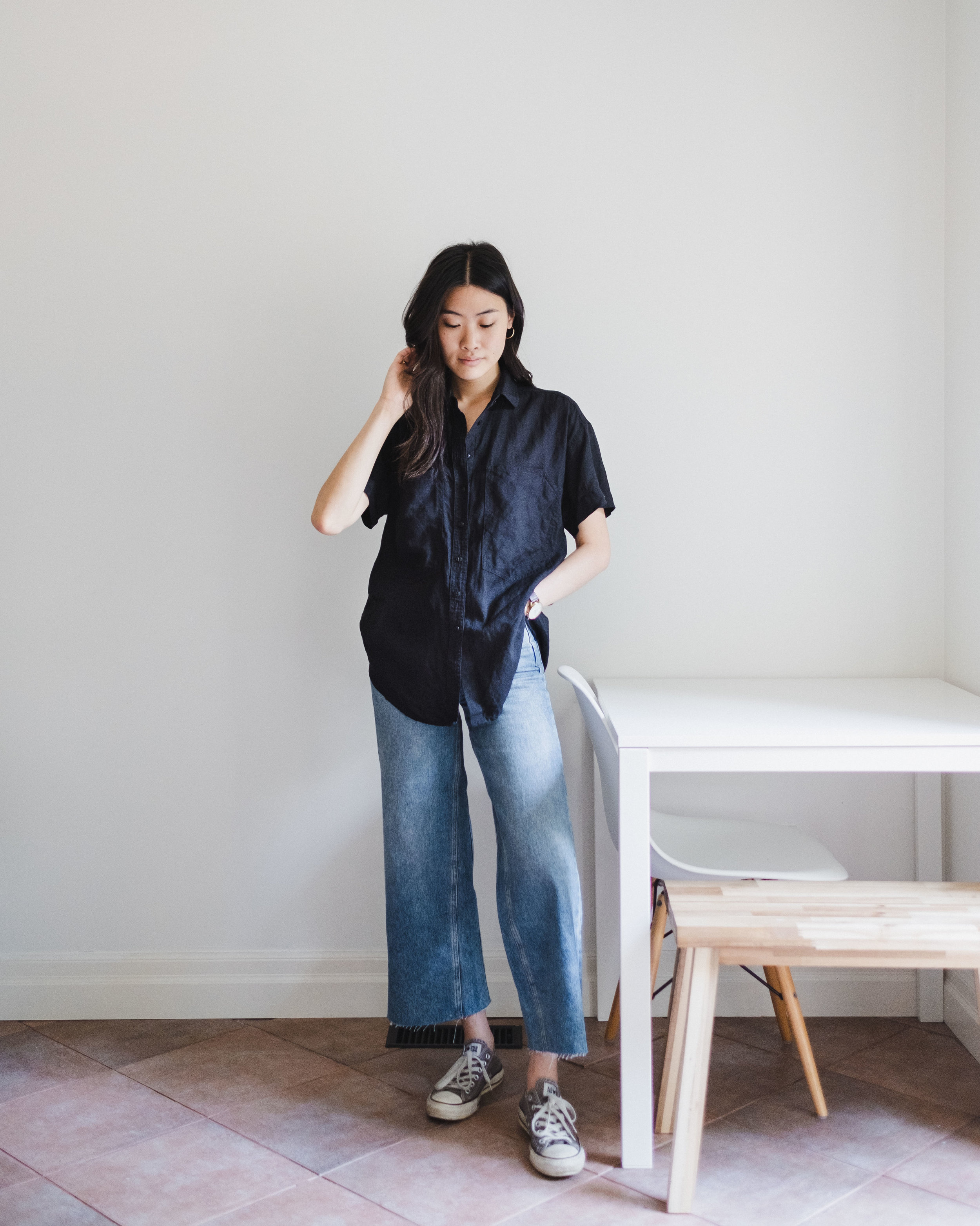 Linen Shirt  |  Wide-Leg Denim  | Sneakers