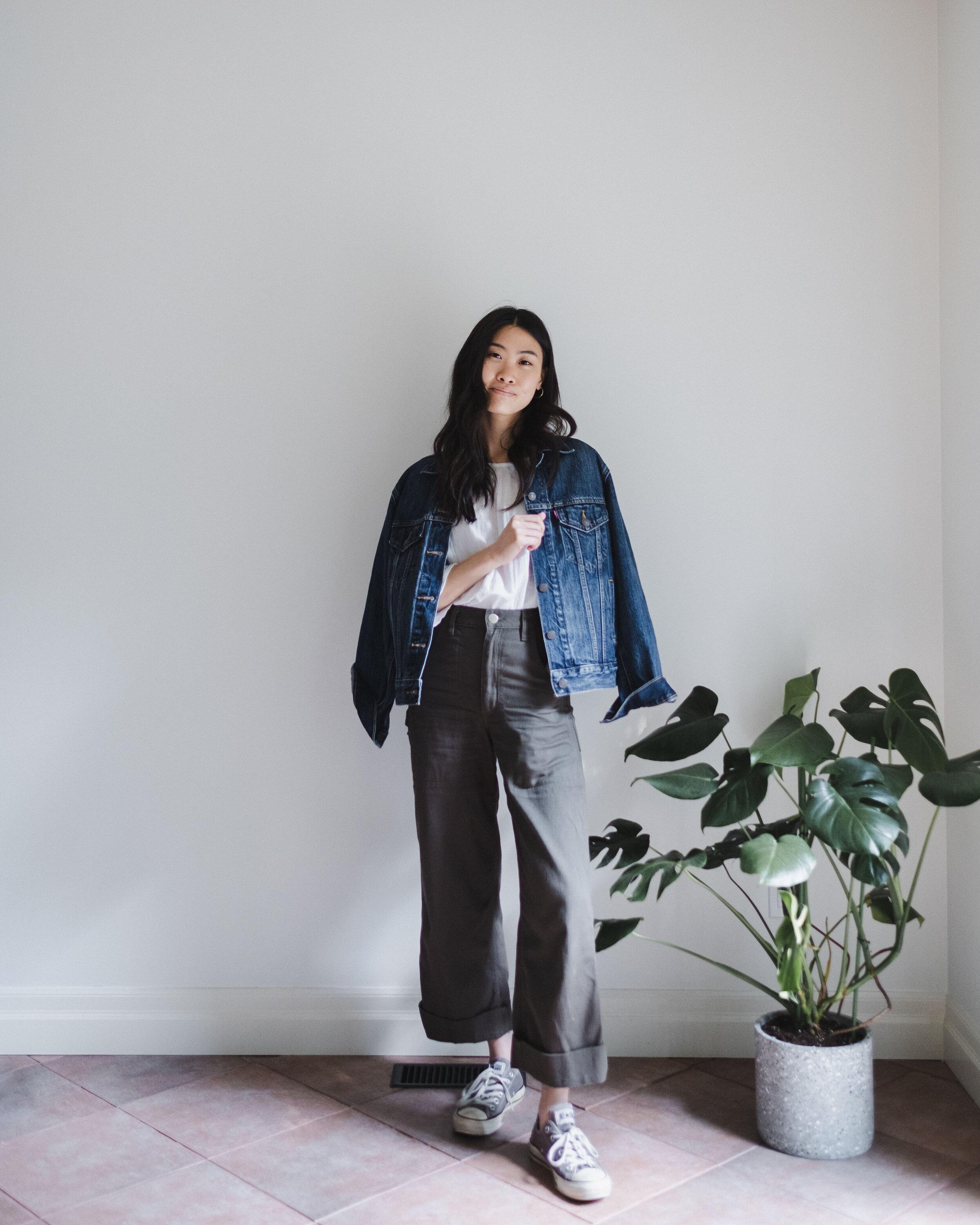 Denim Jacket: Levis     White Top: Voloshin     Painter Pants: Curator SF    Converse