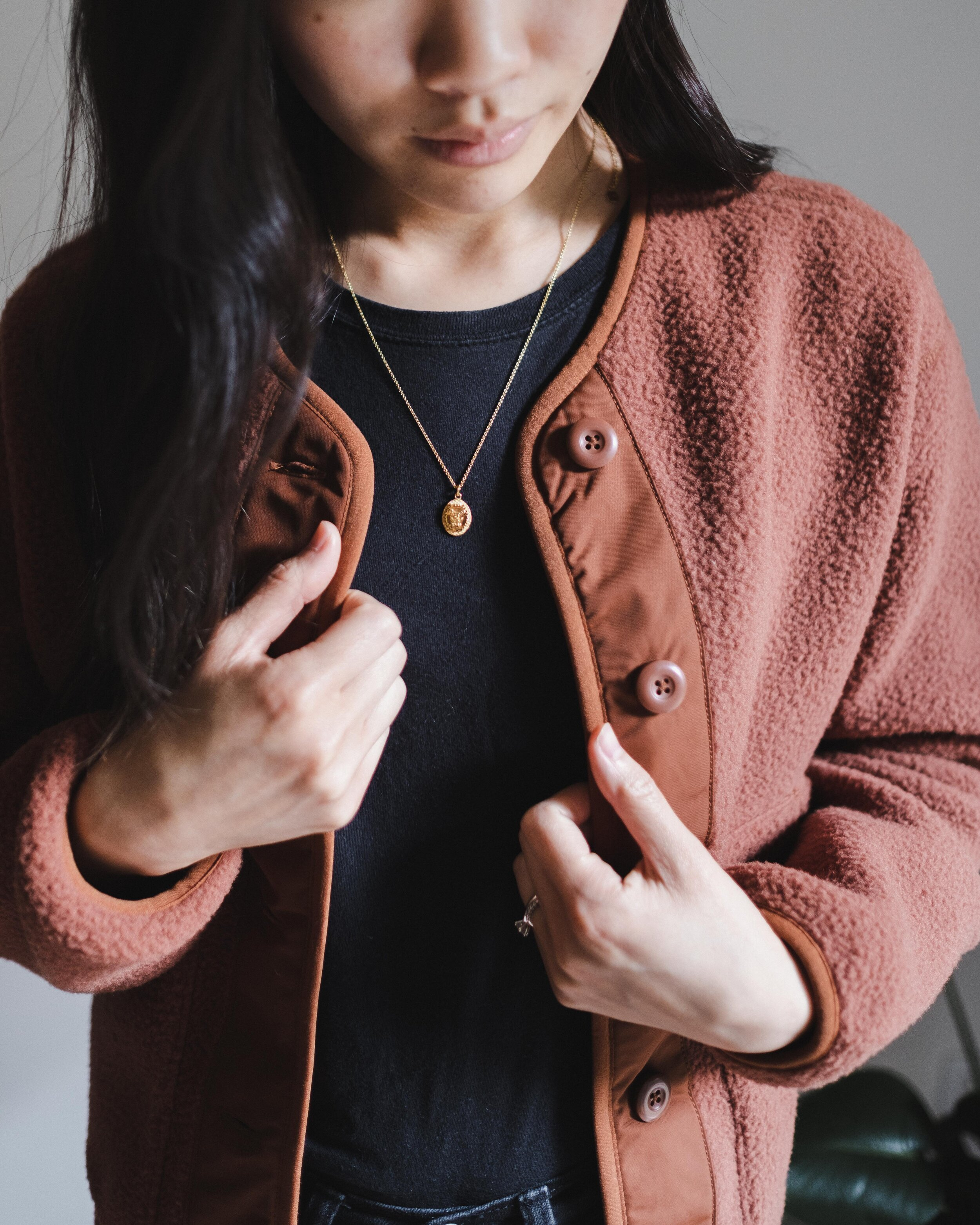 Fleece Jacket: Everlane  |  Necklace: Mejuri