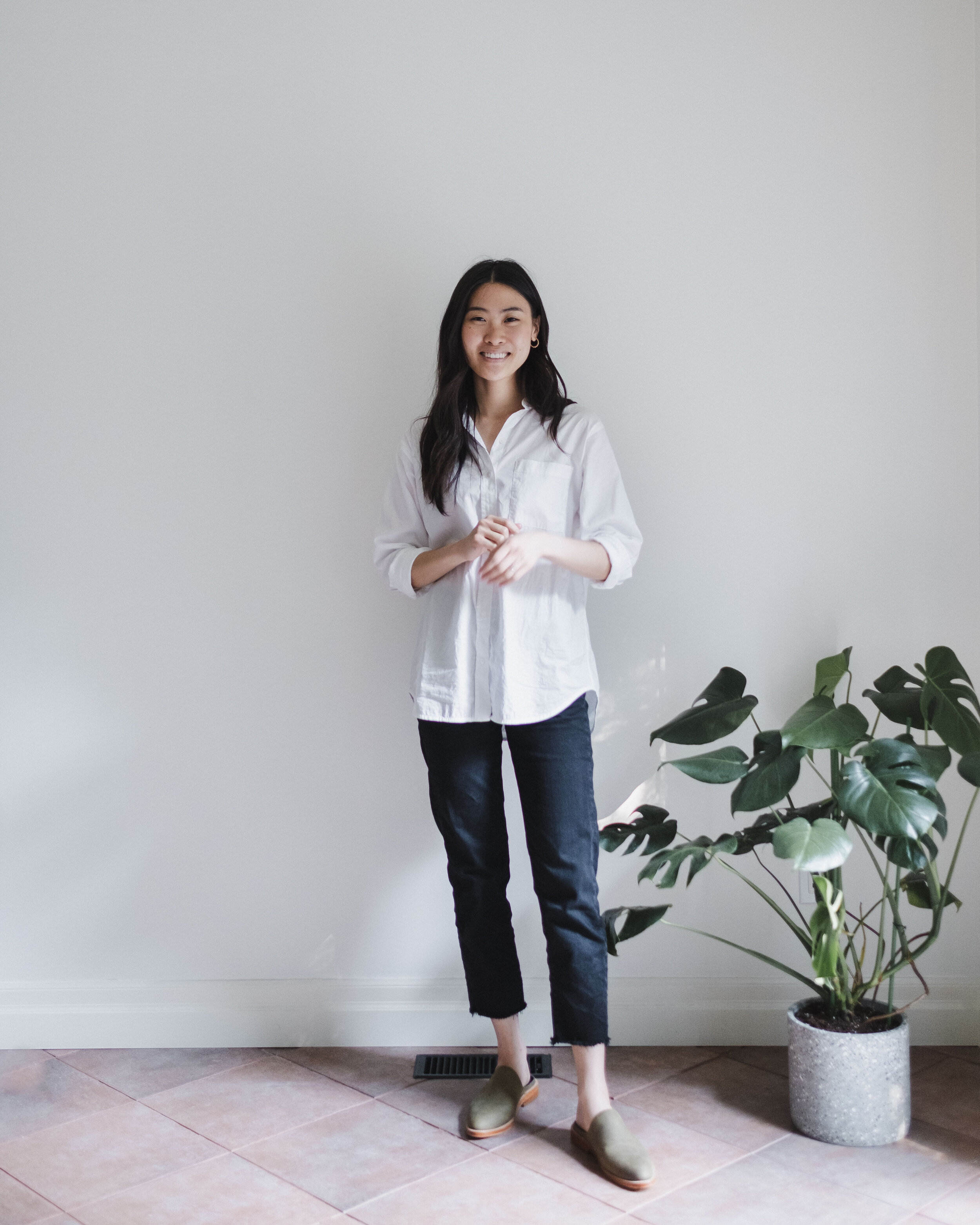 White Button-Up: Everlane  |  Jeans: Outland Denim  |  Mules: Fortress of Inca