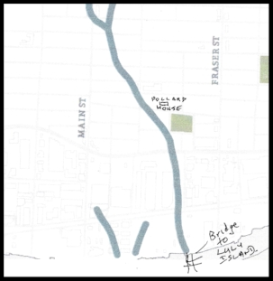 Annotated map showing the creek  in relation to my dad's childhood home.