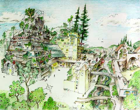 """Illustration from Eco-cities: Building Cities in Balance with Nature (2002) by Richard Register. It captures the author's vision of what a """"rewilded"""" eco-city would look like."""