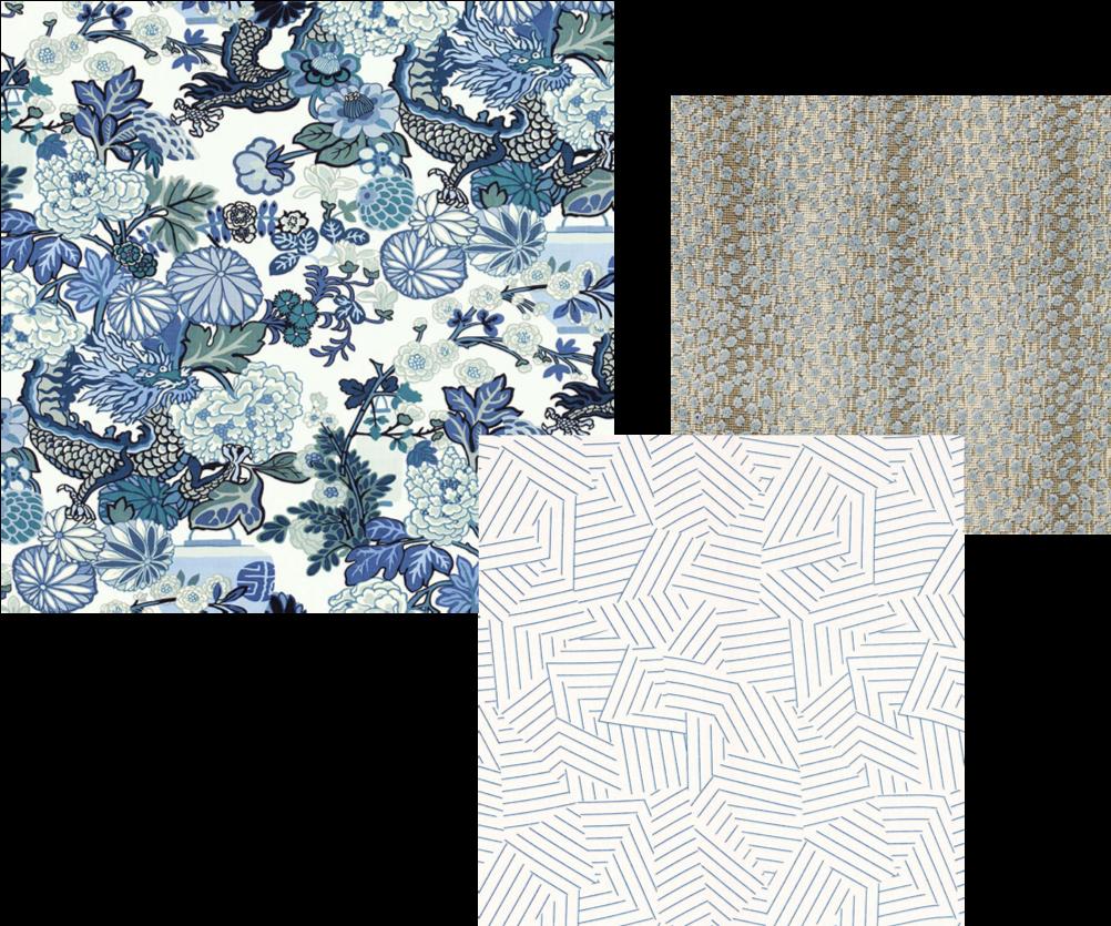 All pattern swatches are from Schumacher (Chiang Mai Dragon, Deconstructed Stripe, Nakuru Linen Velvet)