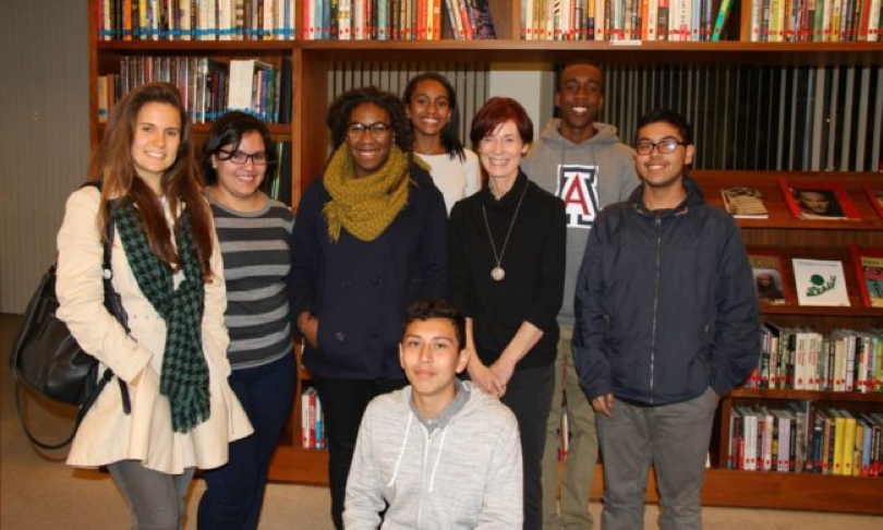 Photo: Screenwriter    Linda Woolverton    (MALEFICENT, BEAUTY AND THE BEAST) with young filmmakers from Ghetto Film School