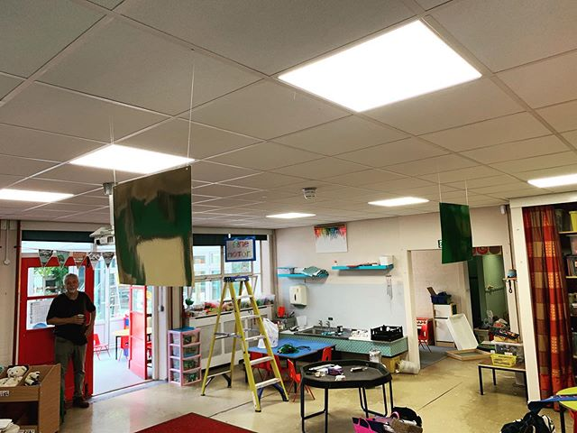 Classroom's at Trent Vale Infants & Nursery getting a fresh lick of L E D  L I G H T I N G #LEDlighting #LEDPanels #Electrician #Lighting