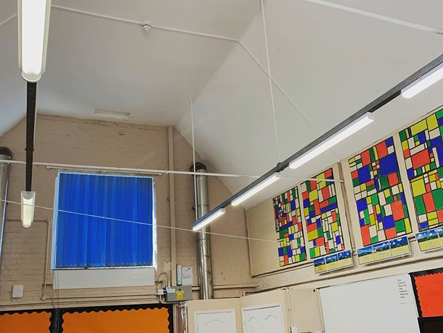 Schools out, LED lighting in! #LEDlighting #Lighting #Classroom #electrician