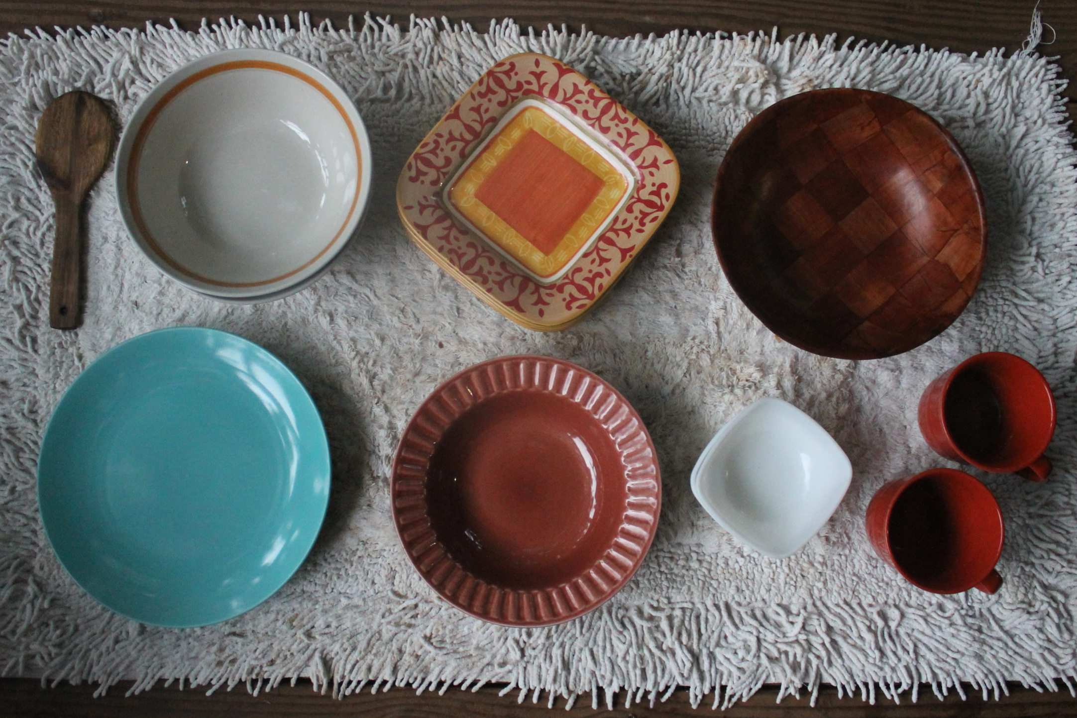 - I love the colors and textures of the different plates and bowls…they still kinda match in some way, yea?$1-2 each at the thrift store.