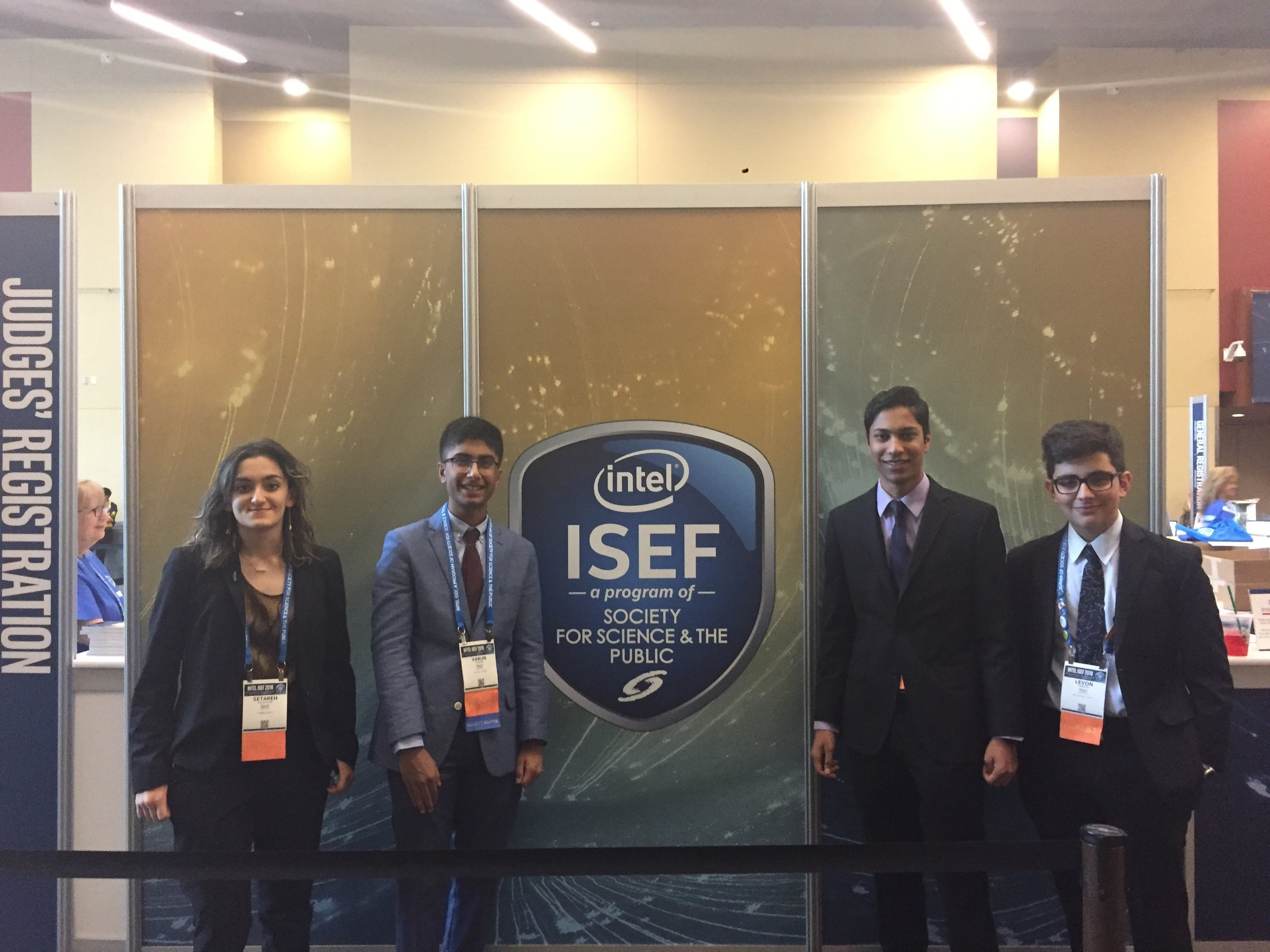 Ying delegates at the 2019 Intel International Science and Engineering Fair in Phoenix, Arizona.