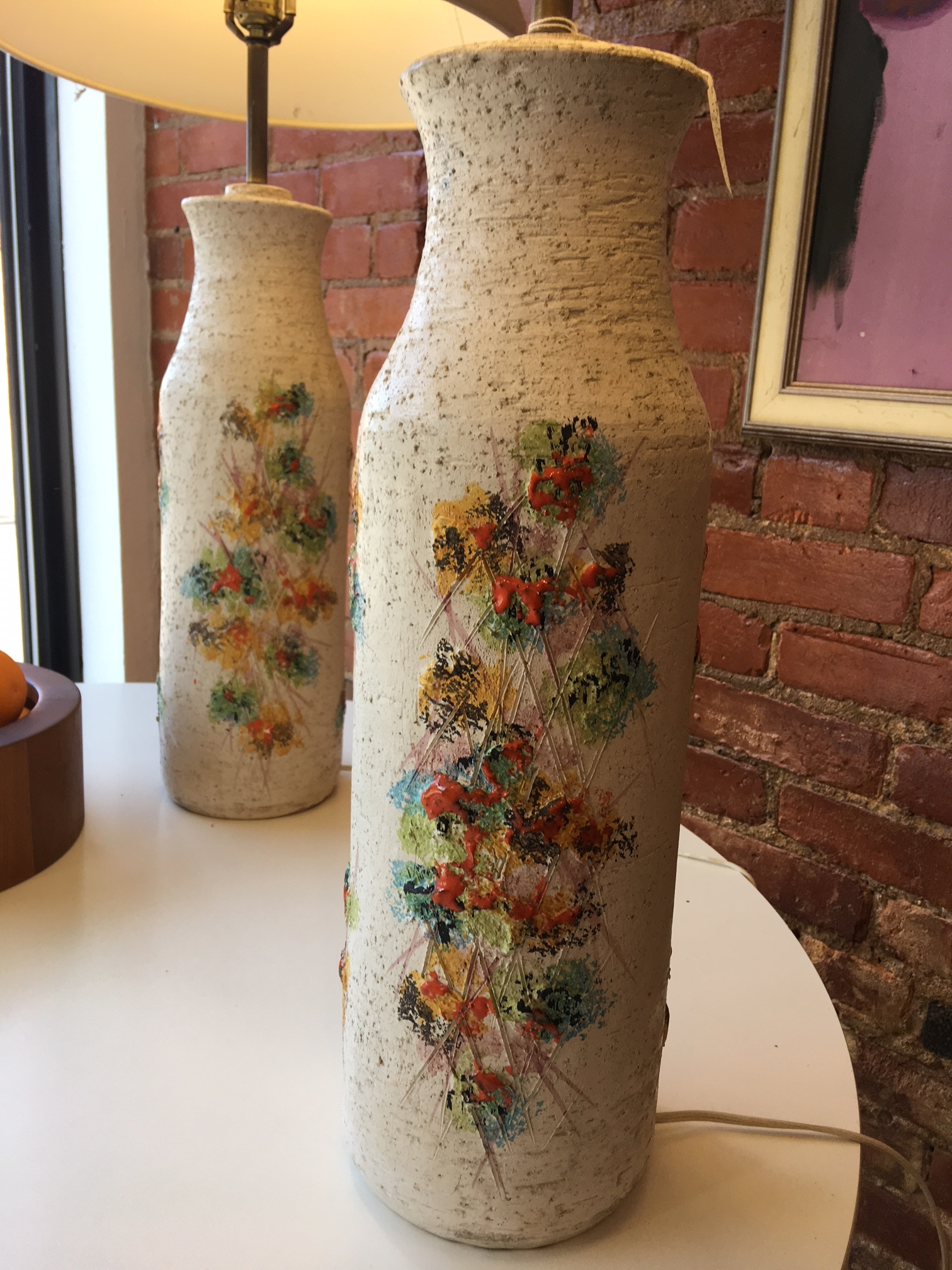 Italian Pottery lamps by Bitossi; beautiful condition.   $550 the pair