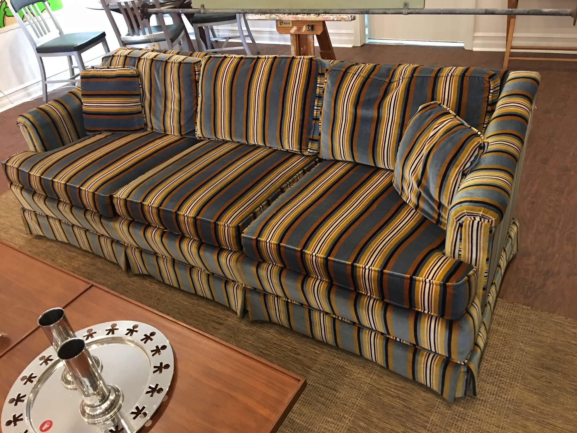 Matched sofa (shown here) and love seat by Henredon in sophisticated striped velvet (possibly a Jack Lenor Larsen textile). Exceptional vintage condition.   $1250 the pair