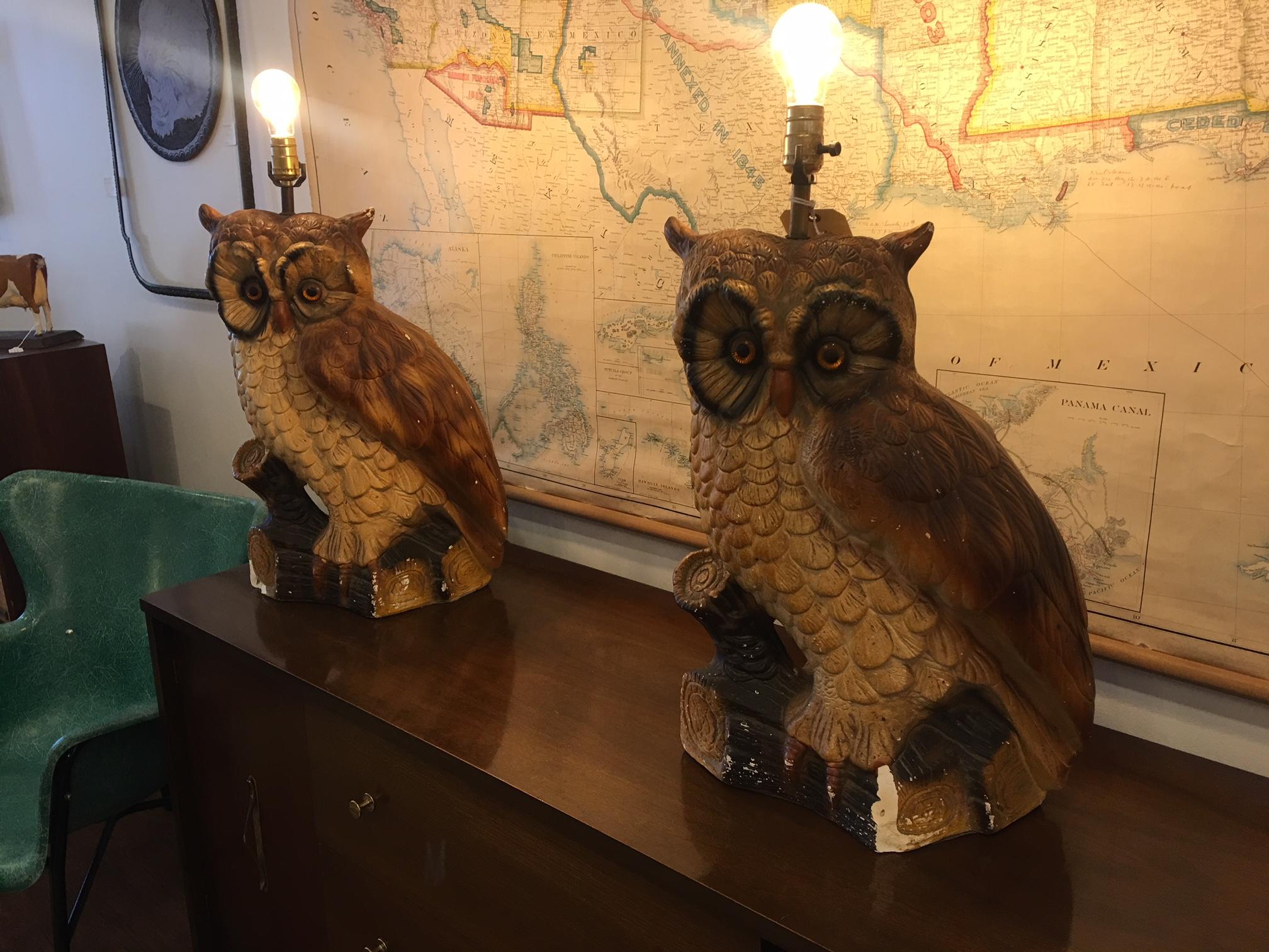 Massive Chalk Owl Lamps.   $125