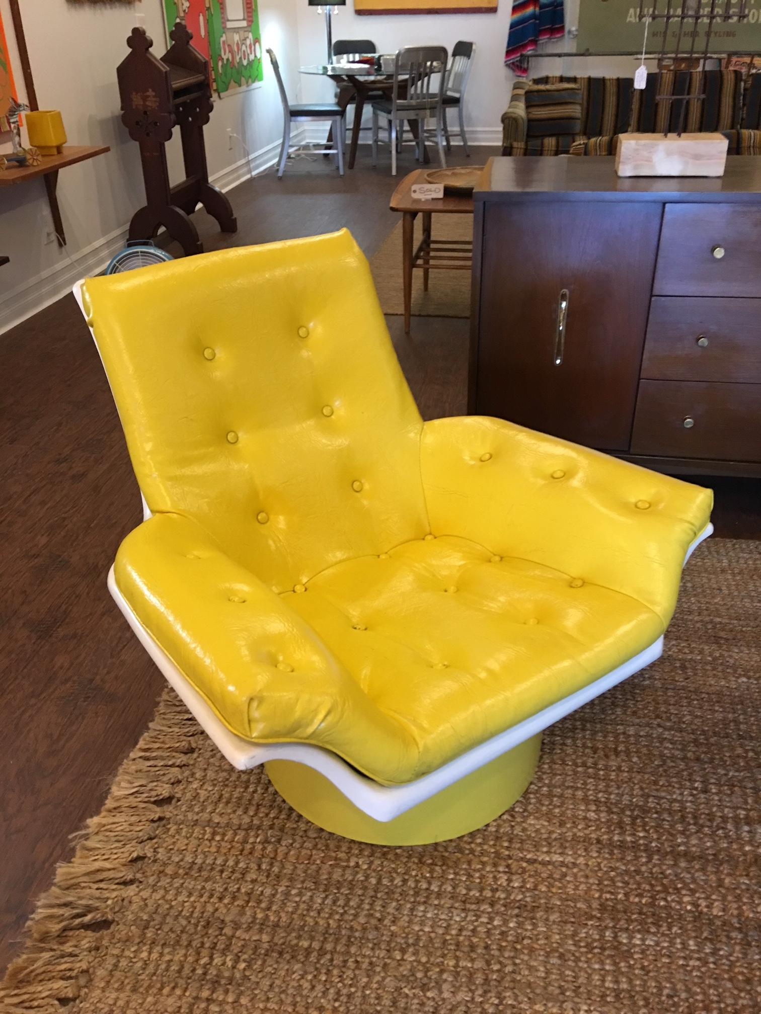 "CurrentItems3.""Futarian"" lounge chair, fiberglass with bright yellow vinyl upholstery. $295.JPG"
