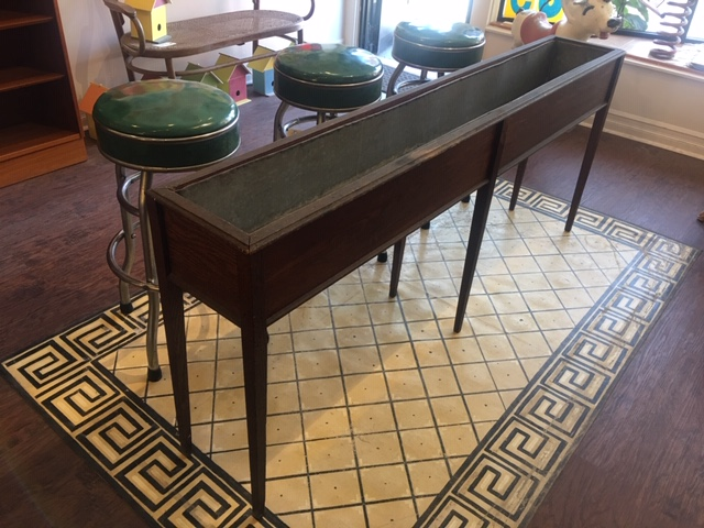 Long (Over 6') Victorian Tin Lined Oak Planter Box   $495