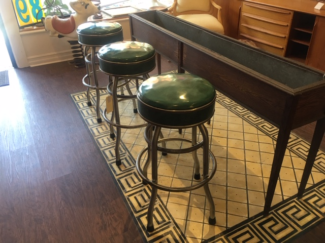 Group of Three Vintage Swivel Barstools with Nicely Preserved Green Vinyl Upholstery   $235