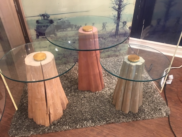 Trio of Postmodern Glass Top Nesting Tables   $475