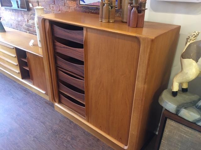 Teak Gentleman's Cabinet Tambour Doors Bernhard Pedersen Denmark   $1395