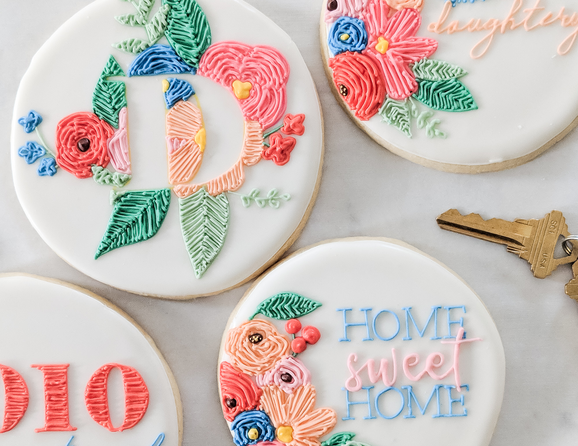 Monogram Embroidery Cookies