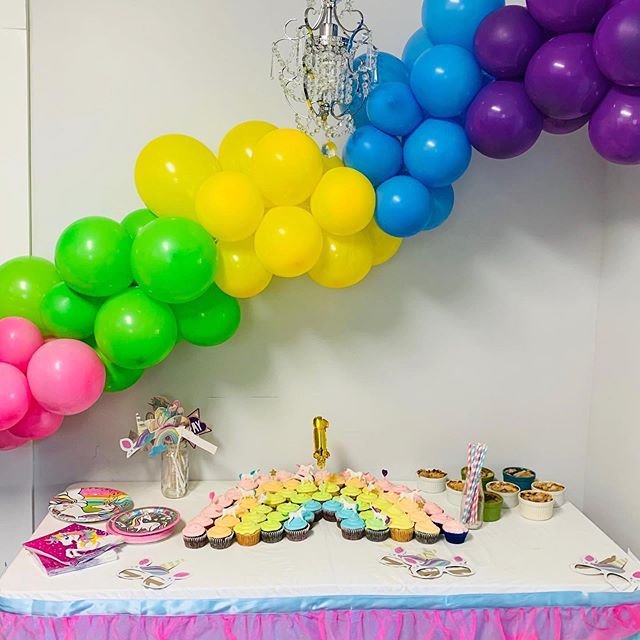 Got to do some rainbow colors for my niece's unicorn rainbow 1st birthday party on Saturday.  My sister with her Pinterest cupcakes 🧁 . . . . . #partyplanner #partyideas #balloongarland #firstbirthday #pinterestwin #unicornparty #rainbowballoons #smashcake #balloondecor #partyinspo #kidspartyideas #kidspartydecor