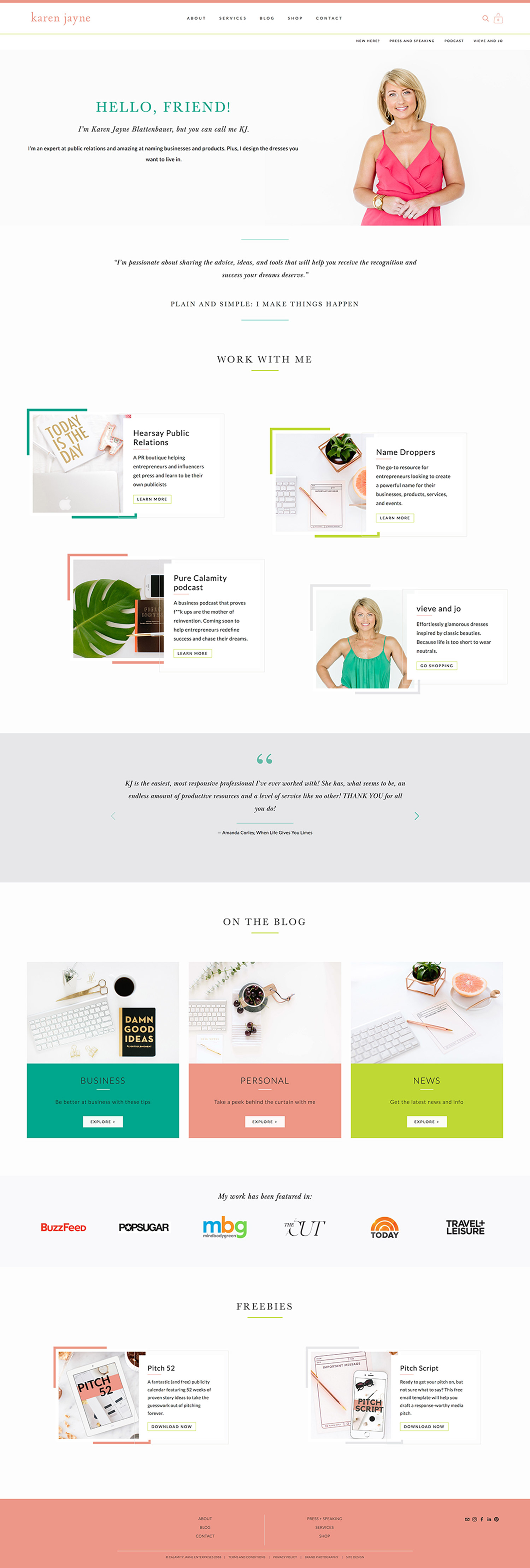 KJ Blattenbauer Home page | Squarespace web site for a business strategist and PR expert | design by Jodi Neufeld Design