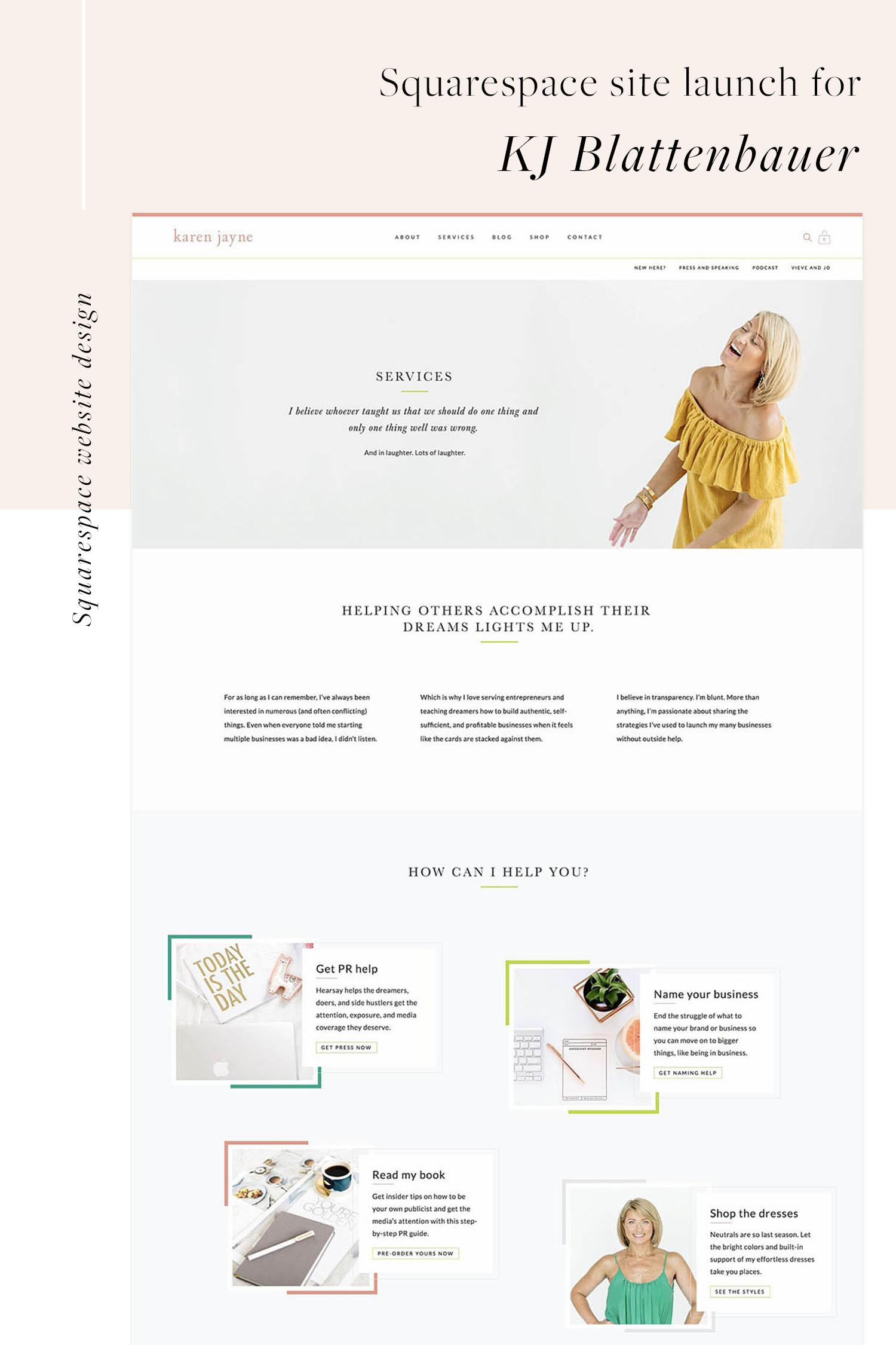 KJ Blattenbauer Services page | Squarespace web design by Jodi Neufeld Design #squarespace #webdesign #minimal #clean