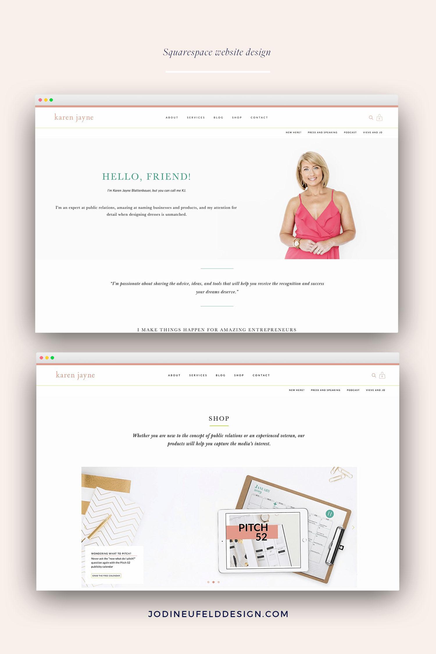 KJ Blattenbauer website design for a PR and business strategist by Jodi Neufeld Design