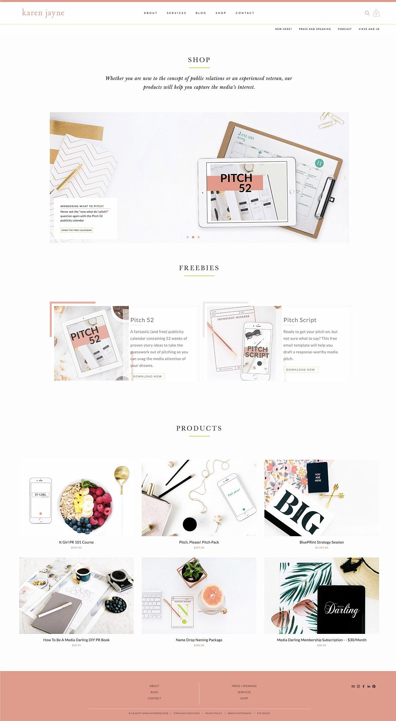 KJ Blattenbauer Shop page | Clean and minimal Squarespace web design by Jodi Neufeld Design #squarespace #webdesign