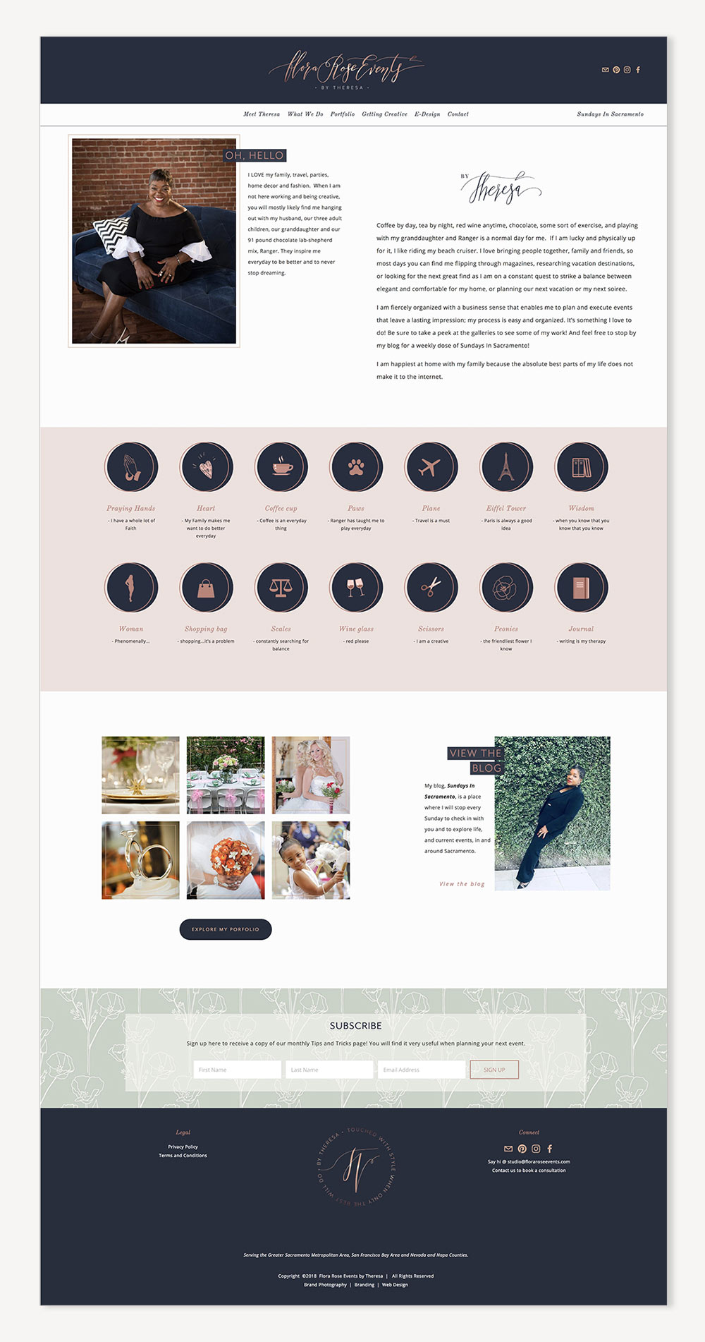 Flora Rose Events About page | Wedding and Event Planner Squarespace website | web design by Jodi Neufeld Design | Squarespace Designer
