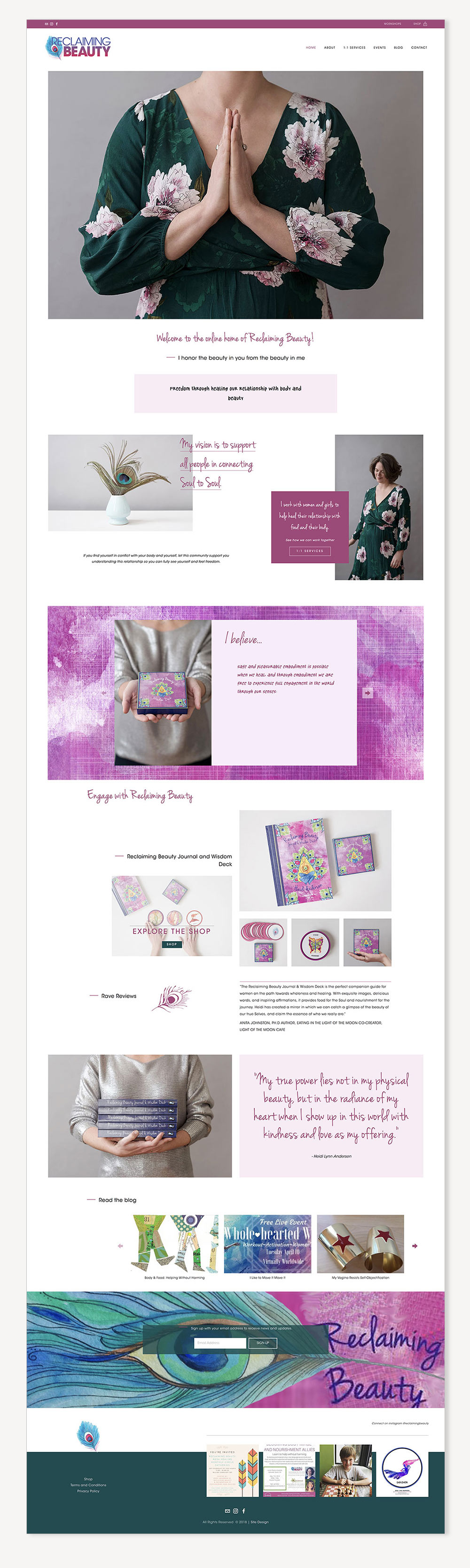 Reclaiming Beauty home page website design | Squarespace website design by Jodi Neufeld Design