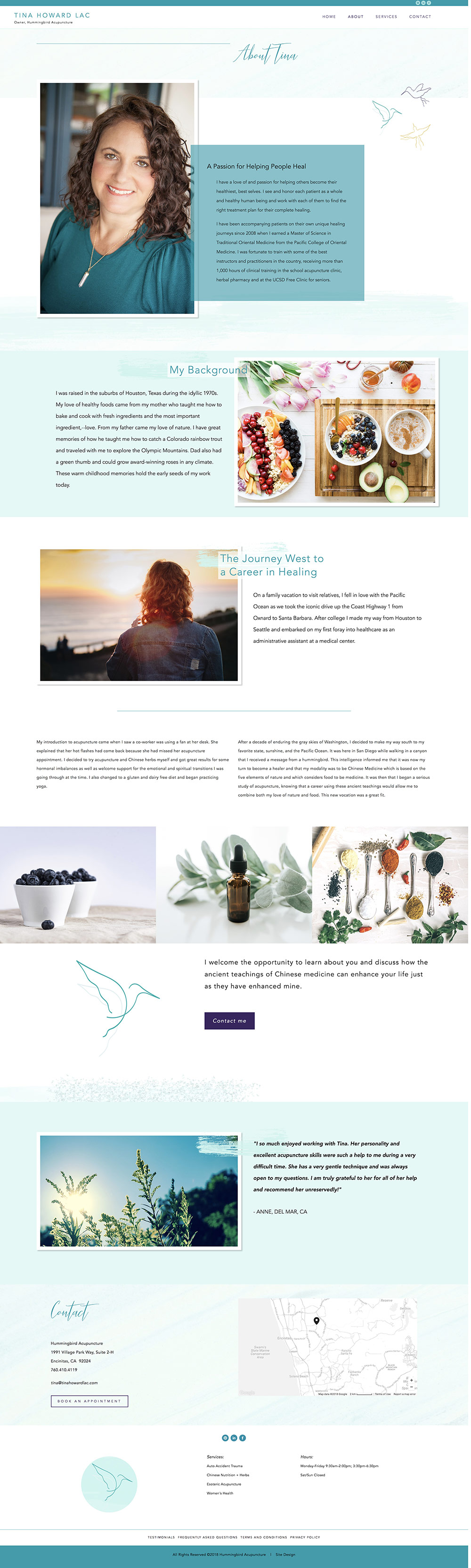 Tina Howard LAC About page | website design by Jodi Neufeld Design