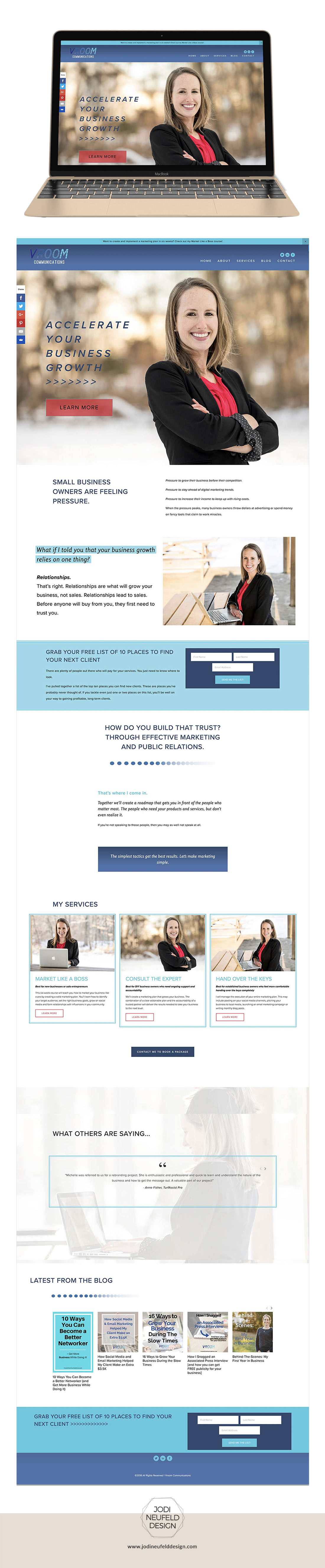 Michelle Vroom Squarespace fixer upper by Jodi Neufeld Design | Home page design