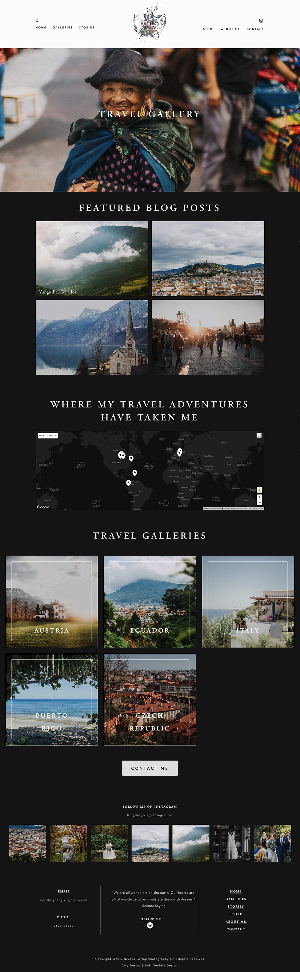 Bryden Giving Photographer Travel Stories page | Squarespace web design by Jodi Neufeld Design
