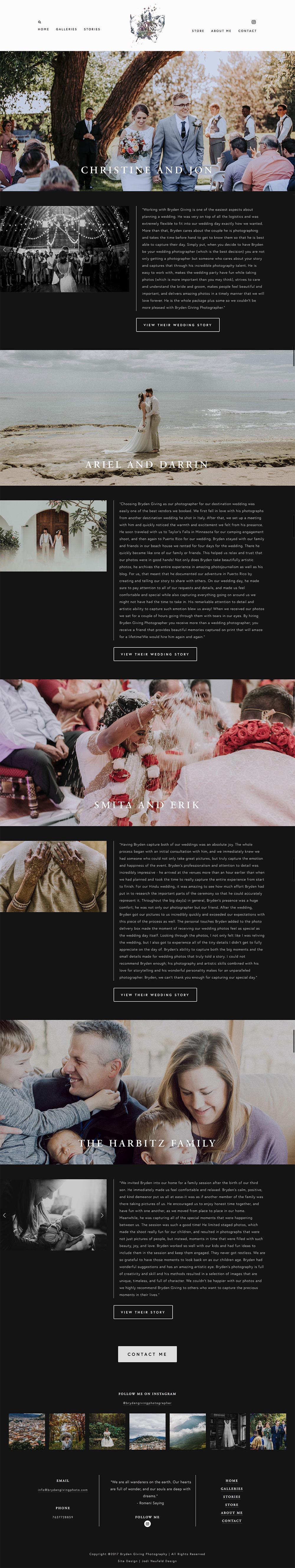 Bryden Giving Photographer   testimonials page   custom Photography website by Jodi Neufeld Design