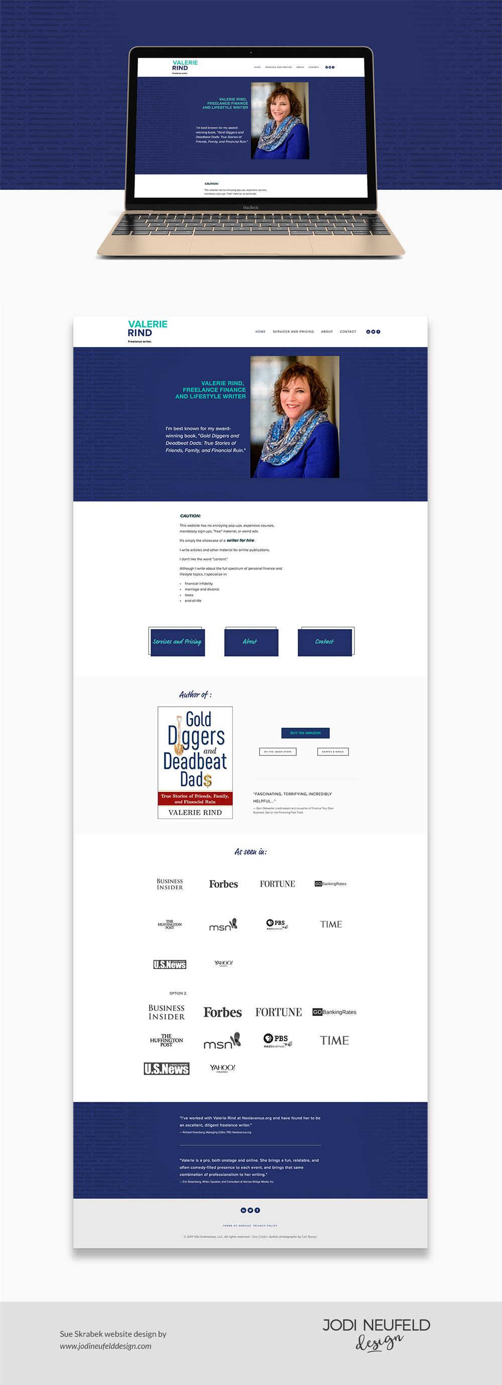 Valerie Rind Home page design | Squarespace web design for a freelance writer and author by Jodi Neufeld Design