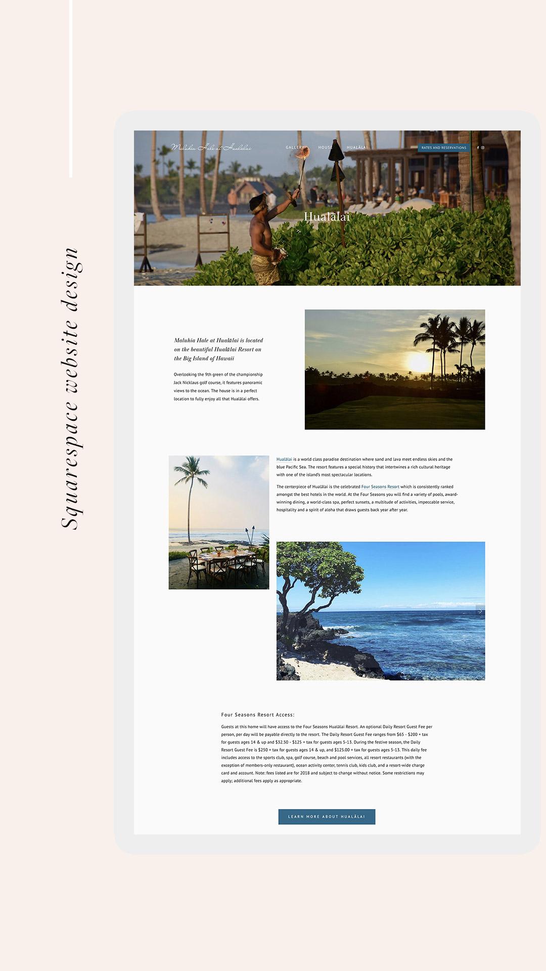 Maluhia Hale - Hualalai page | webdesign by Jodi Neufeld Design