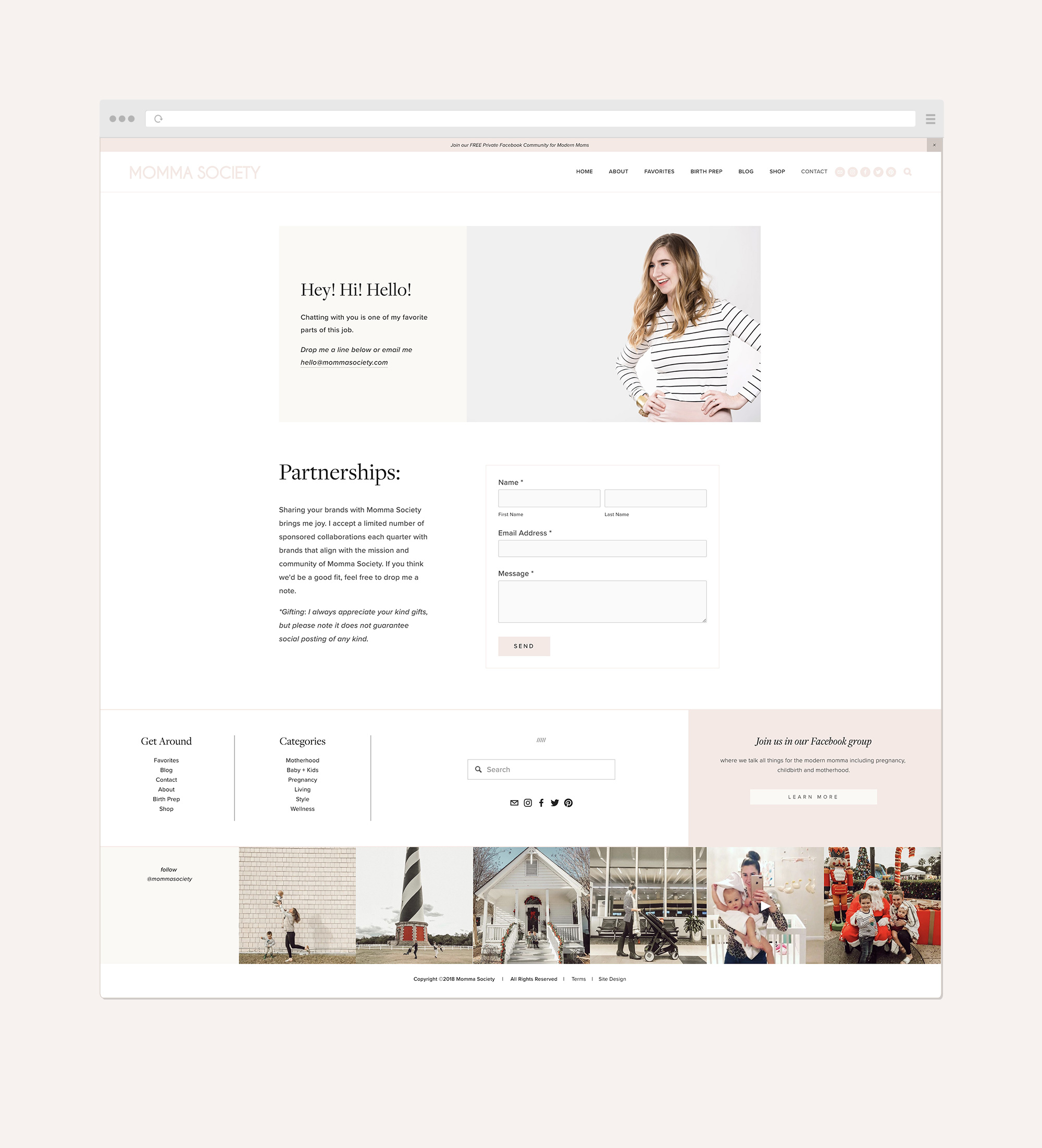 Momma Society Contact page | #squarespace web design by Jodi Neufeld Design #webdesign