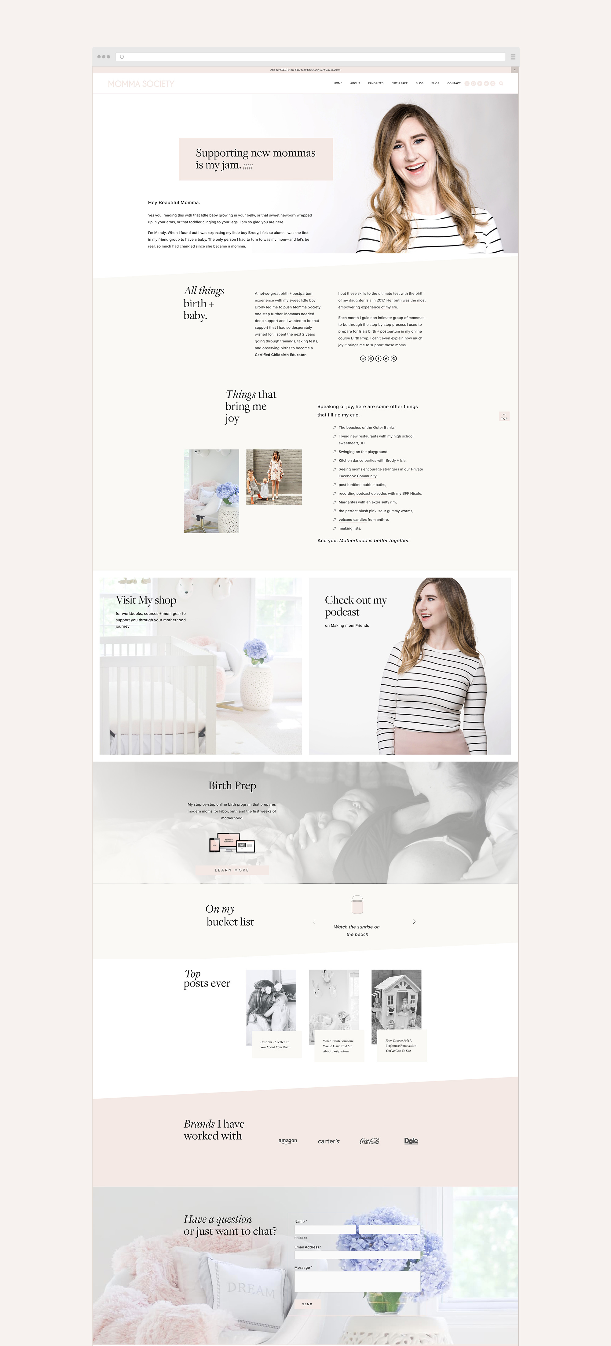 About Mandy page | Momma Society Squarespace website by Jodi Neufeld Design