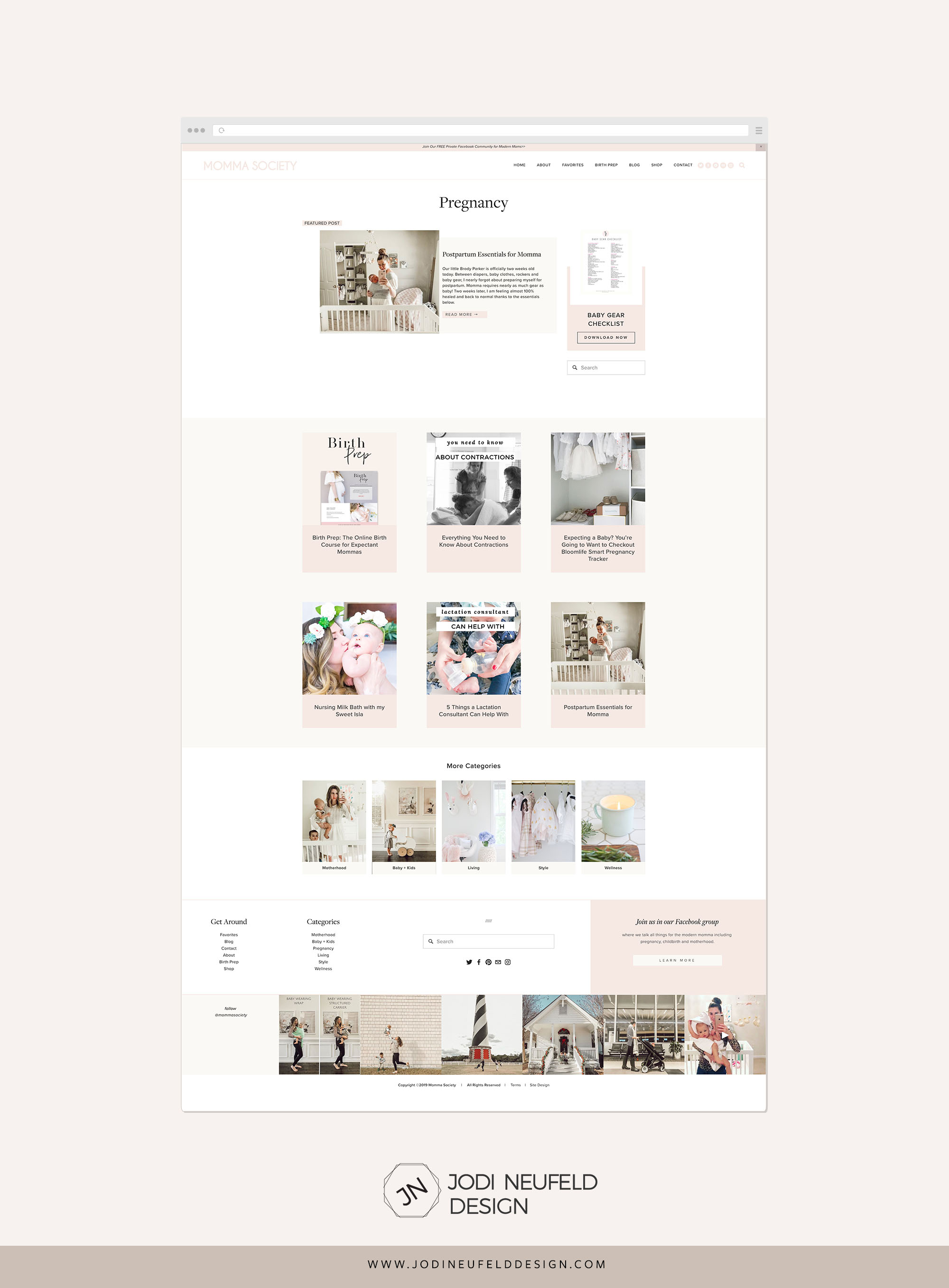 Momma Society Blog post page by category | Squarespace web design by Jodi Neufeld Design