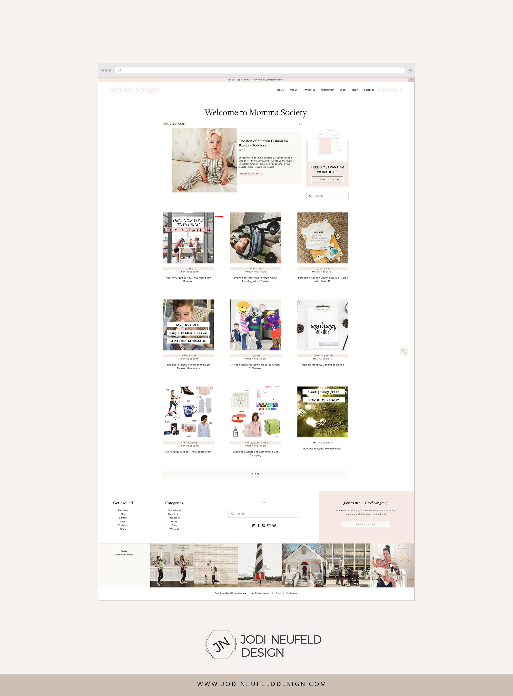 Momma society blog page | Clean and minimal Squarespace web design