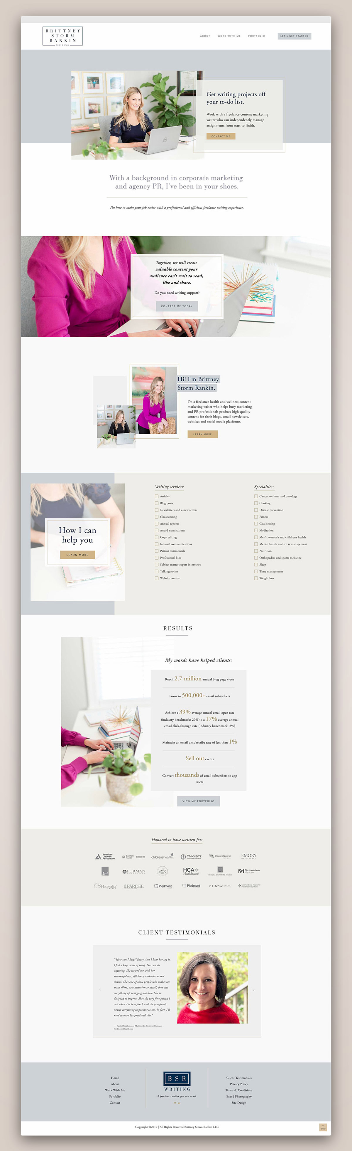 Brittney Storm Rankin Writing Home page | Squarespace web design by Jodi Neufeld Design #squarespace #writerwebsite #webdesign #feminine