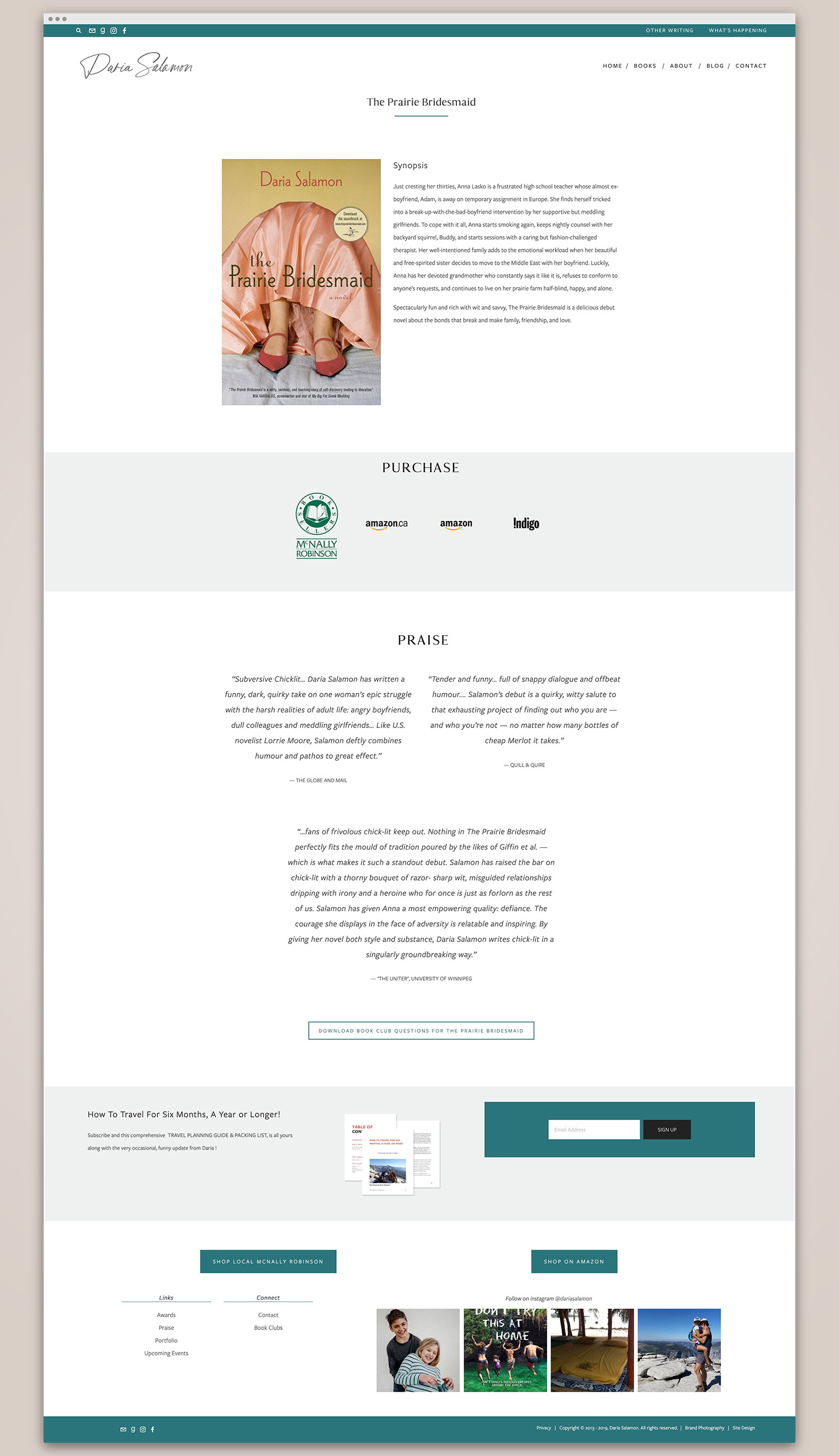 book page for Daria Salamon author | Squarespace website design by Jodi Neufeld Design