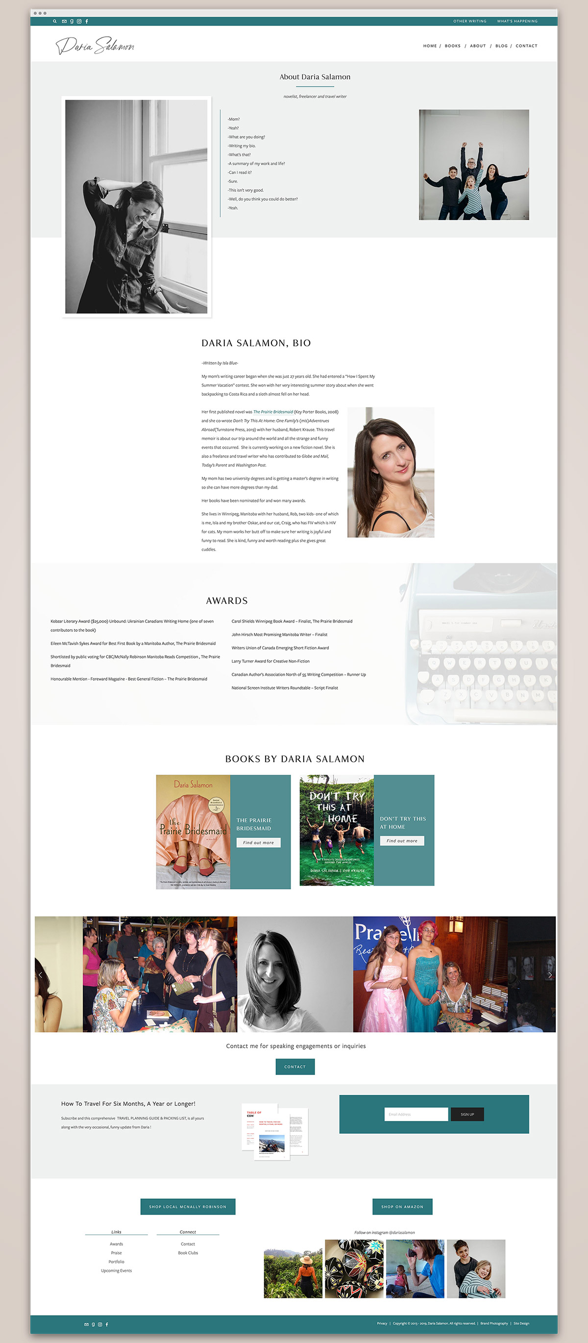 Daria Salamon About page | freelance writer website design by Jodi Neufeld Design