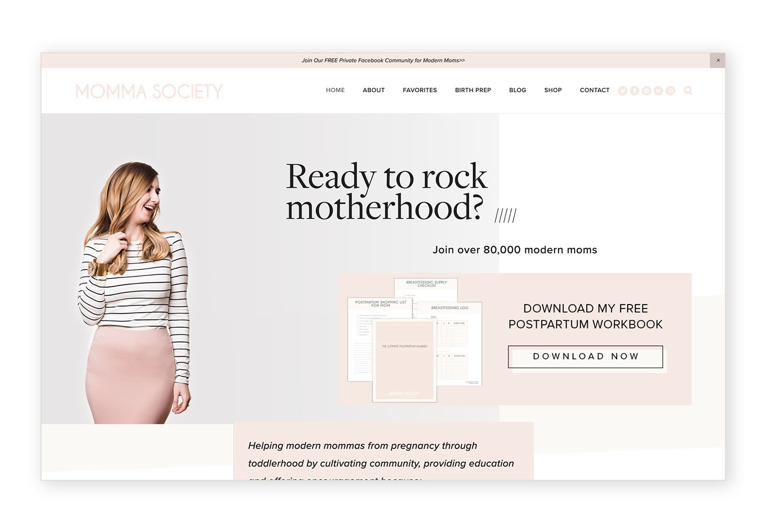 Momma Society - Brine template header area