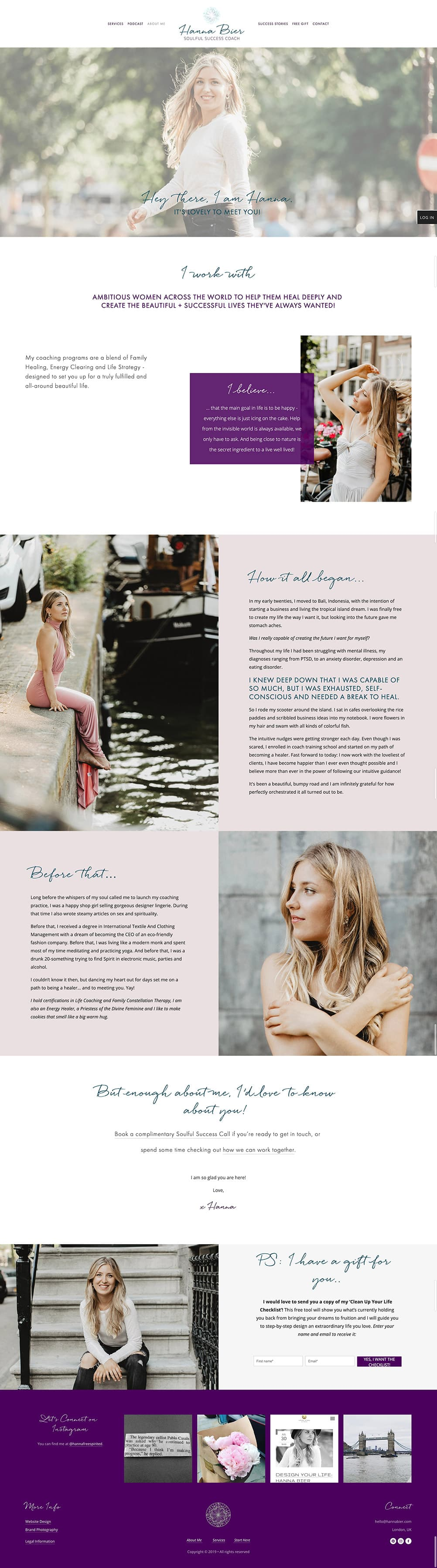 Hanna Bier About page | gorgeous About page design | Squarespace webdesign by Jodi Neufeld Design #squarespace #coaching #website #webdesign